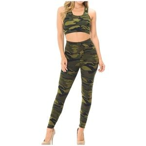 NWT Soft Green Camouflage Bra and Leggings Set